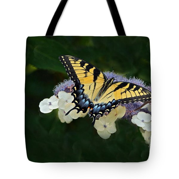 Luminous Butterfly On Lacecap Hydrangea Tote Bag by Byron Varvarigos