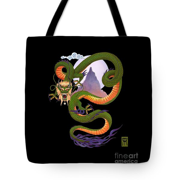 Lunar Chinese Dragon On Black Tote Bag by Melissa A Benson