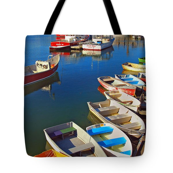 Lunch At The Harbor Tote Bag by Joann Vitali