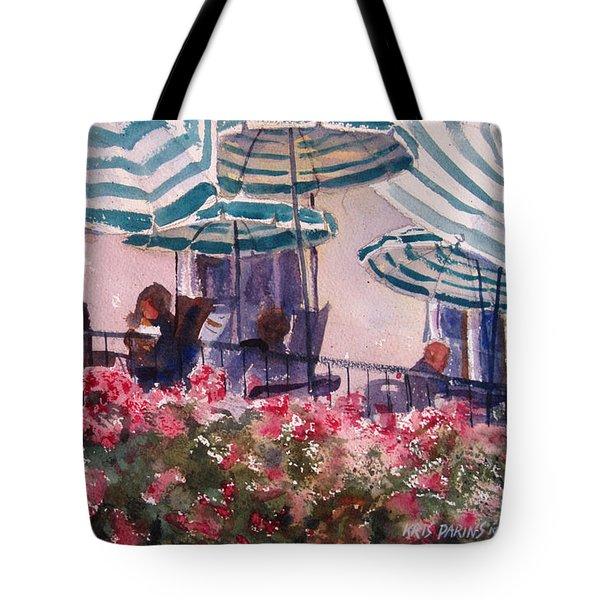 Lunch Under Umbrellas Tote Bag by Kris Parins