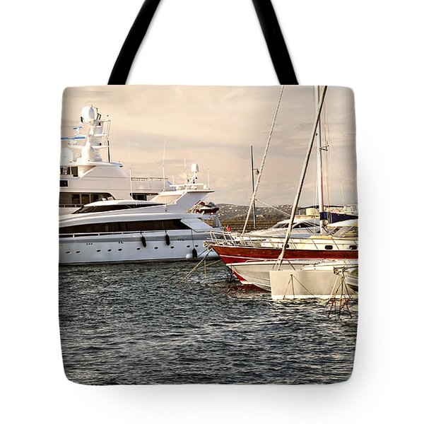 Luxury Boats At St.tropez Tote Bag by Elena Elisseeva