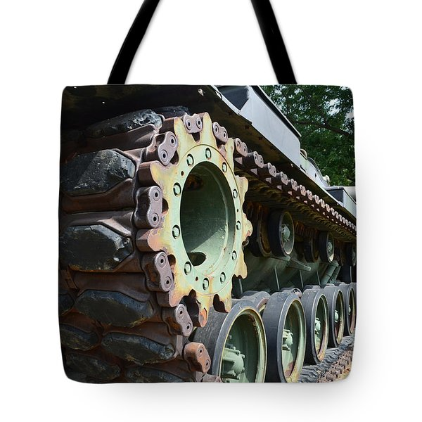 M60 Patton Artillery Tank Tread Tote Bag by Luther   Fine Art