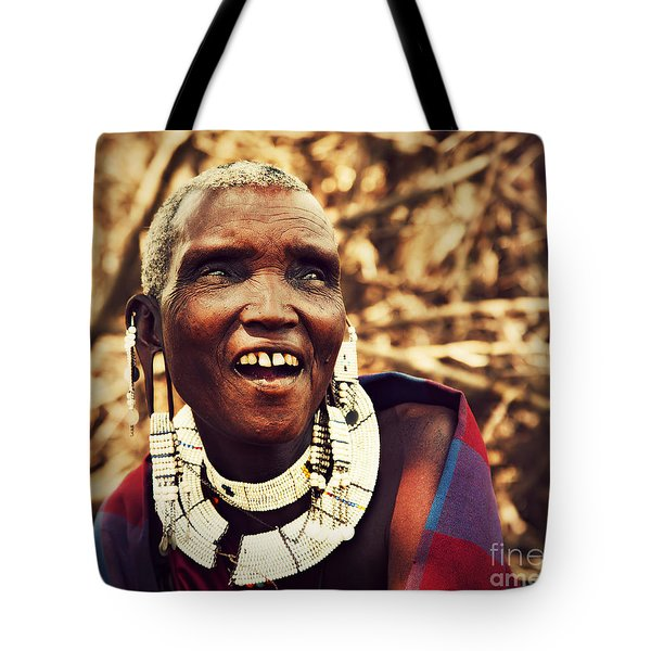 Maasai Old Woman Portrait In Tanzania Tote Bag by Michal Bednarek