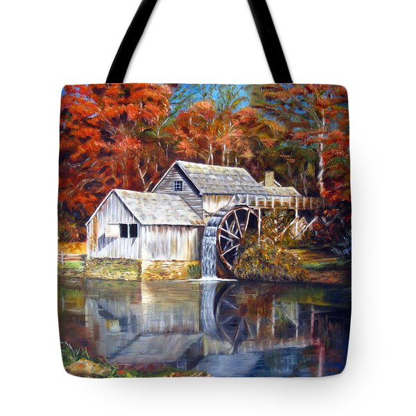 Mabry Mill Blue Ridge Virginia Tote Bag by LaVonne Hand