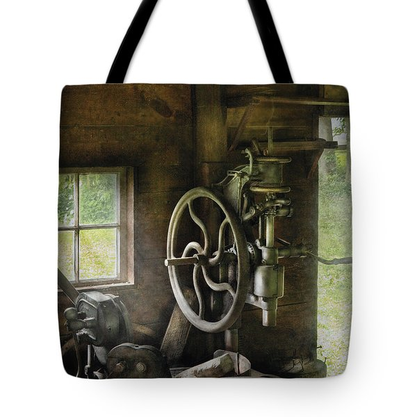 Machine Shop - An Old Drill Press Tote Bag by Mike Savad