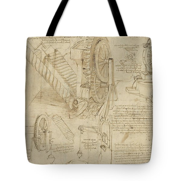 Machines To Lift Water Draw Water From Well And Bring It Into Houses From Atlantic Codex  Tote Bag by Leonardo Da Vinci