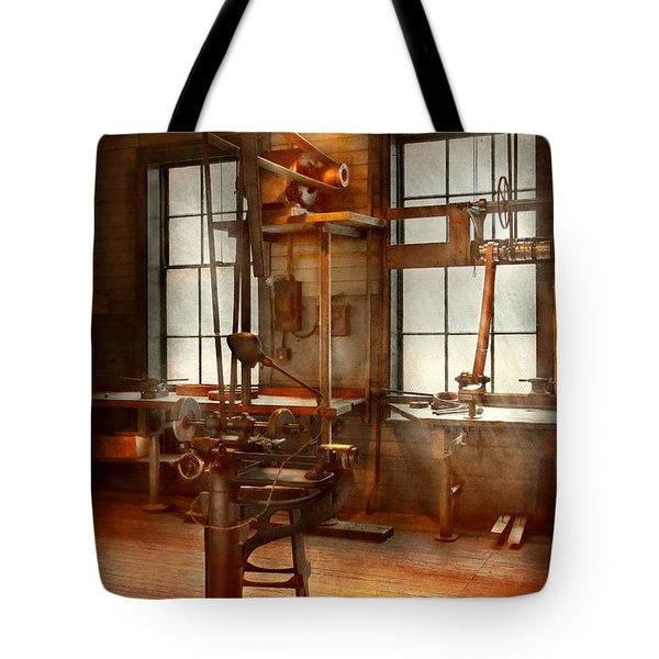 Machinist - A Lone Grinder  Tote Bag by Mike Savad