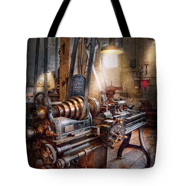 Machinist - Fire Department Lathe Tote Bag by Mike Savad