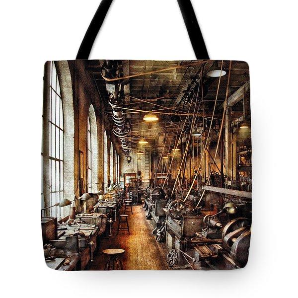 Machinist - Machine Shop Circa 1900's Tote Bag by Mike Savad