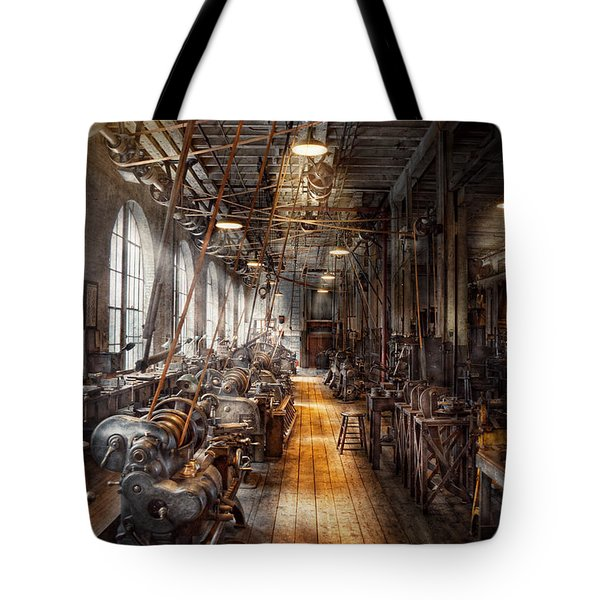 Machinist - Welcome To The Workshop Tote Bag by Mike Savad