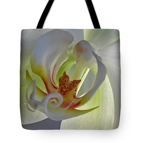 Macro Photograph Of An Orchid Tote Bag by Juergen Roth