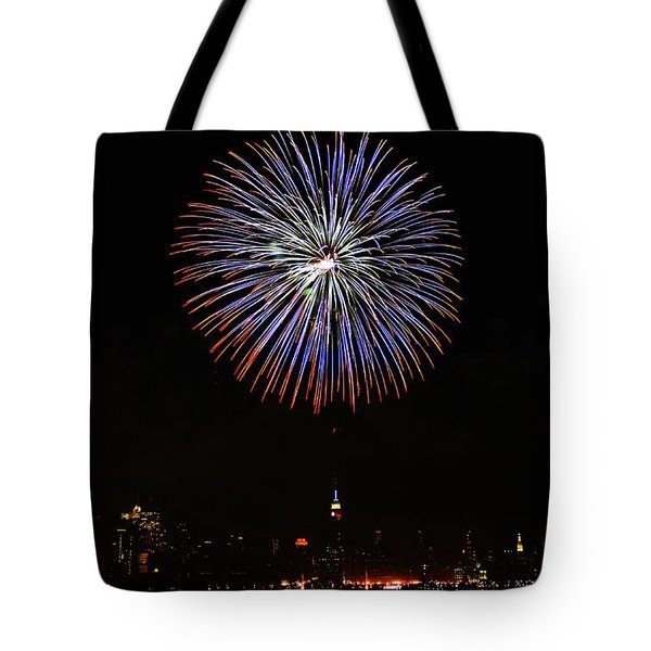 Fireworks Over The Empire State Building Tote Bag by Nishanth Gopinathan