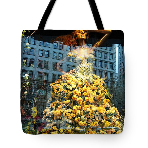 Macy's Yellow Rose Woman Tote Bag by adSpice Studios