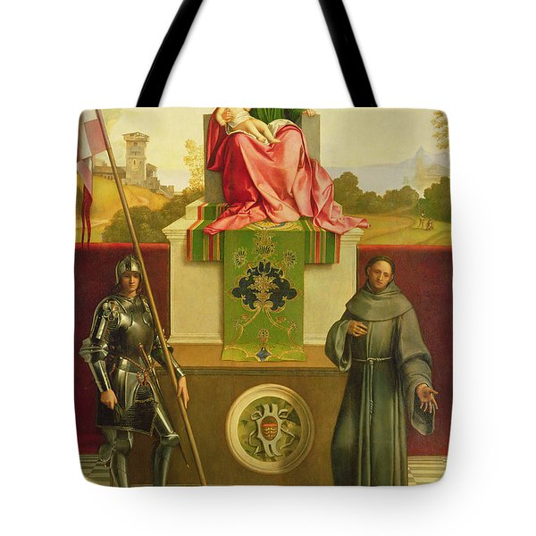 Madonna And Child With Saints Liberale And Francis Tote Bag by Giorgione