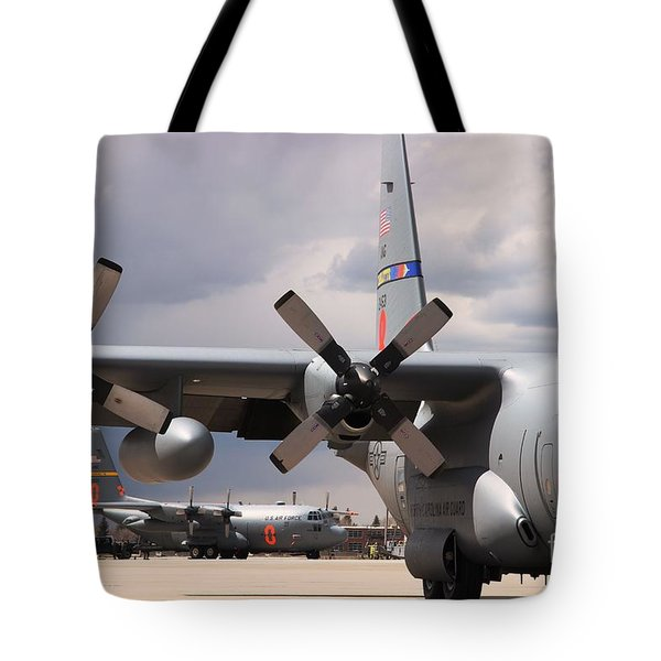 Tote Bag featuring the photograph Maffs C-130s At Cheyenne by Bill Gabbert