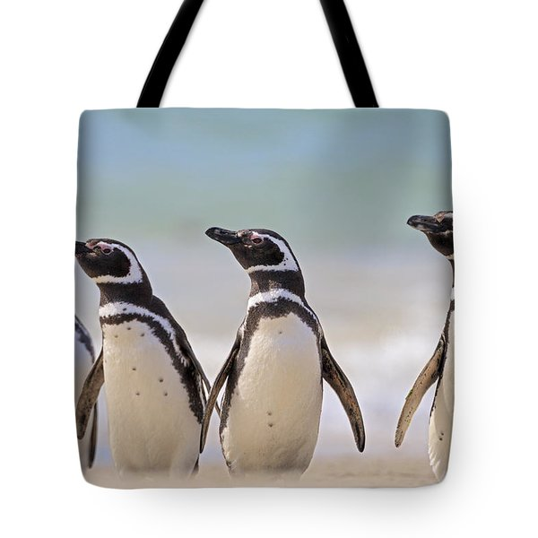 Magellanic Penguins Carcass Island Tote Bag by Heike Odermatt