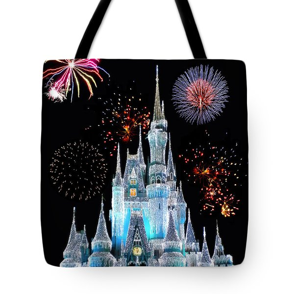 Magic Kingdom Castle In Frosty Light Blue With Fireworks 06 Tote Bag by Thomas Woolworth