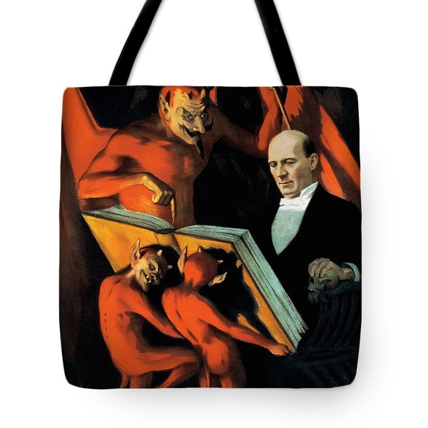 Magician Harry Kellar And Demons  Tote Bag by Jennifer Rondinelli Reilly - Fine Art Photography