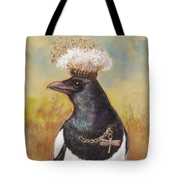 Magpie In A Milkweed Crown Tote Bag by Tracie Thompson