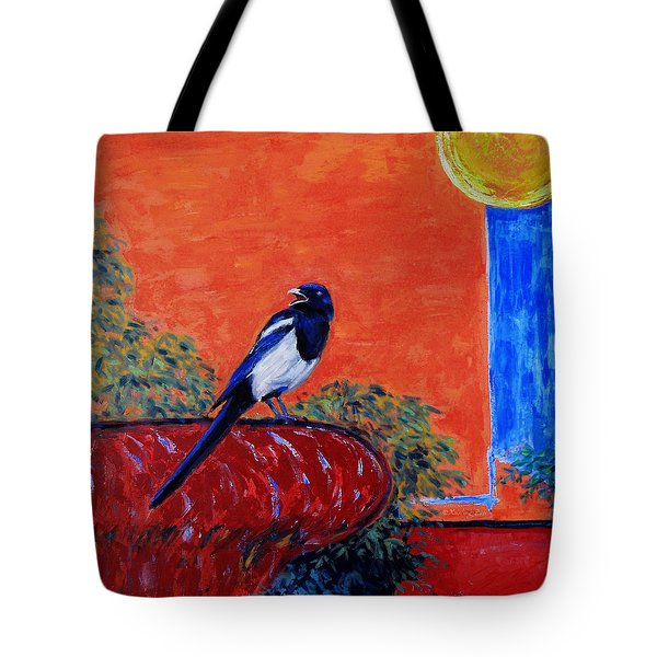 Magpie Singing At The Bath Tote Bag by Xueling Zou
