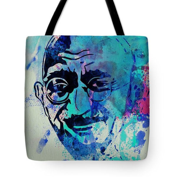 Mahatma Gandhi Watercolor Tote Bag by Naxart Studio