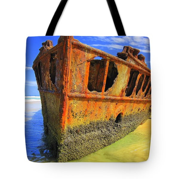 Maheno Shipwreck Tote Bag by Ramona Johnston