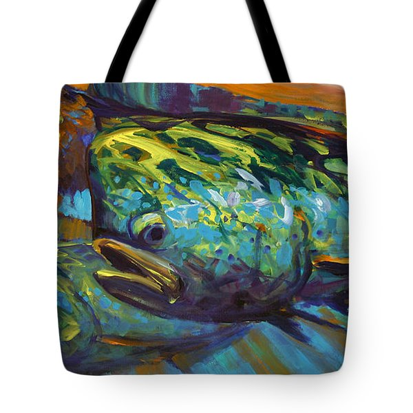 Mahi At Sunset Tote Bag by Savlen Art