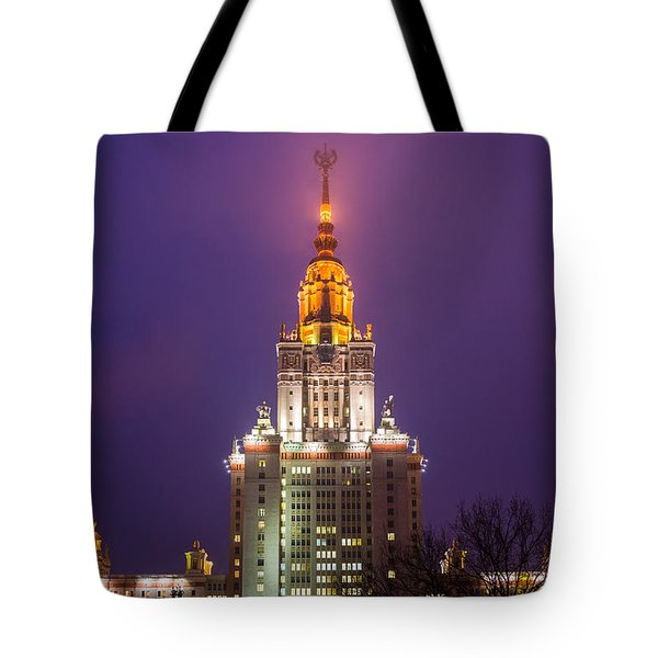 Main Building Of Moscow State University At Winter Evening - Featured 3 Tote Bag by Alexander Senin