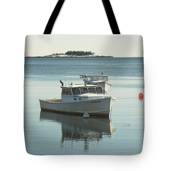 Maine Lobster Boats in Winter Tote Bag by Keith Webber Jr