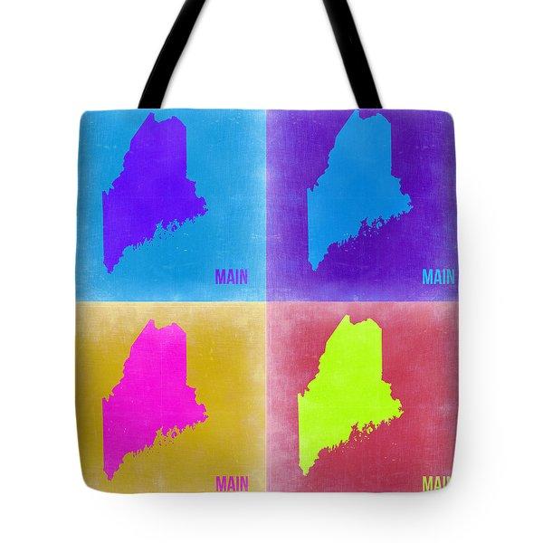 Maine Pop Art Map 2 Tote Bag by Naxart Studio