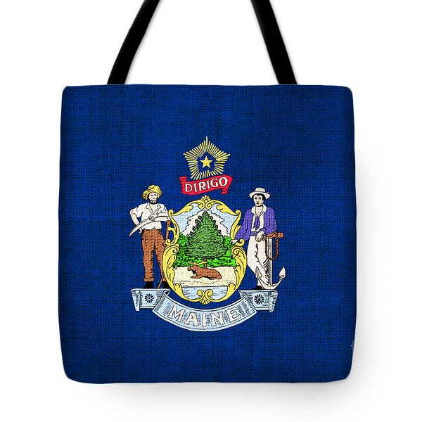 Maine State Flag Tote Bag by Pixel Chimp