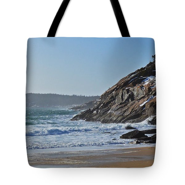 Maine Surfing Scene Tote Bag by Meandering Photography