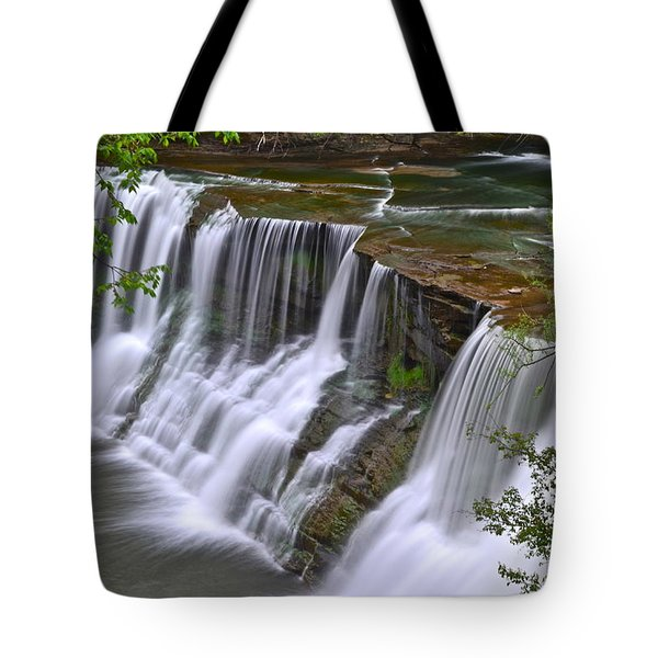Majestic Falls Tote Bag by Frozen in Time Fine Art Photography