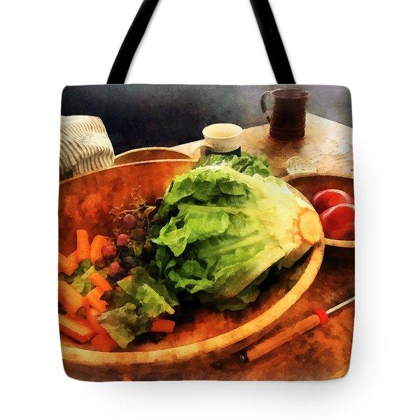 Making Waldorf Salad Tote Bag by Susan Savad