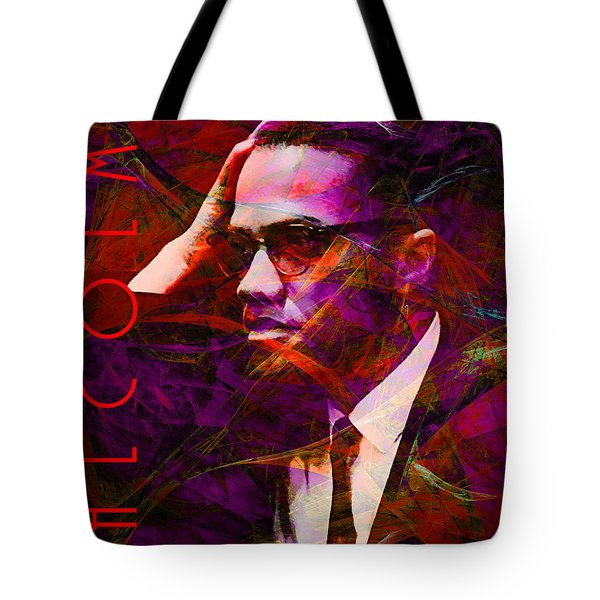 Malcolm X 20140105m28 with text Tote Bag by Wingsdomain Art and Photography