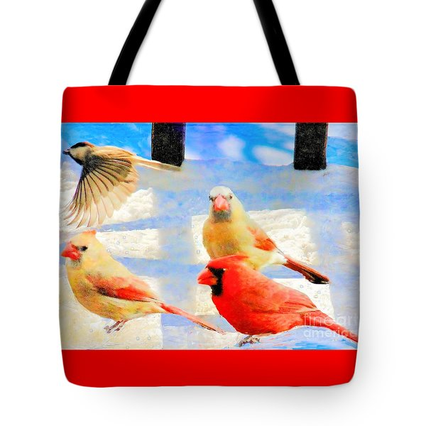 Male Cardinal With Two Females And Junco Tote Bag by Janette Boyd