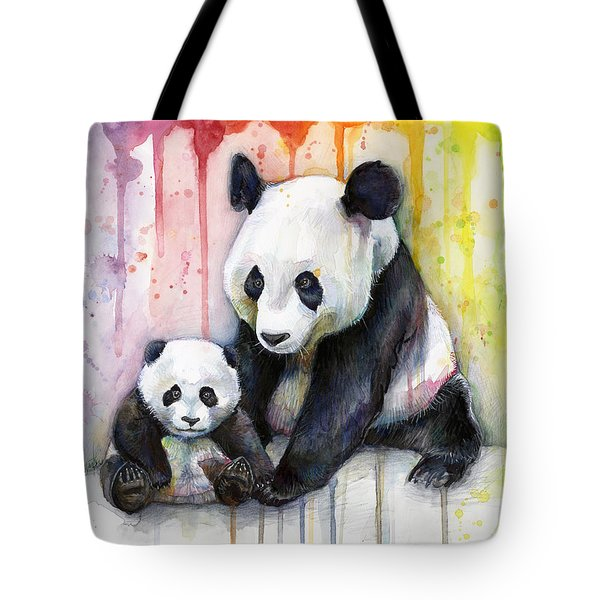 Panda Watercolor Mom And Baby Tote Bag by Olga Shvartsur