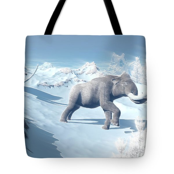 Mammoths Walking Slowly On The Snowy Tote Bag by Elena Duvernay