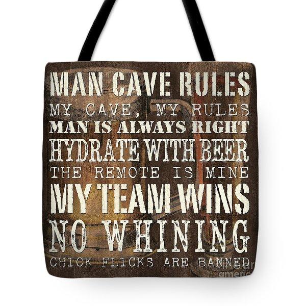 Man Cave Rules Square Tote Bag by Debbie DeWitt