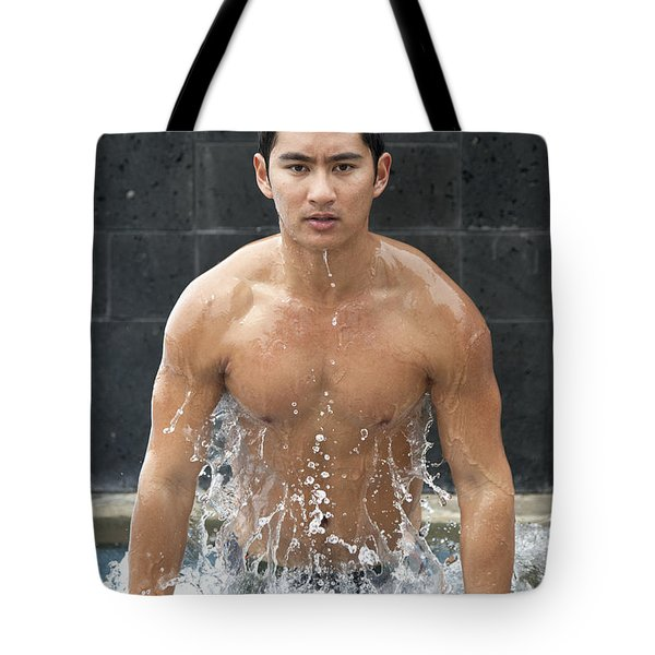 Man In The Pool Tote Bag by Brandon Tabiolo