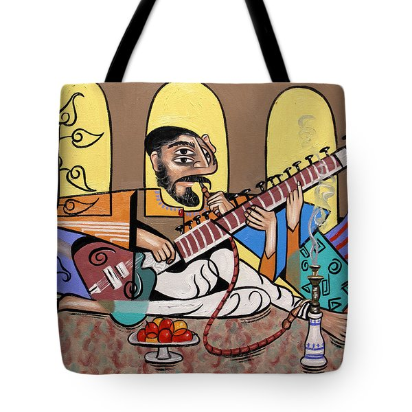 Man Playing A Sitar Tote Bag by Anthony Falbo