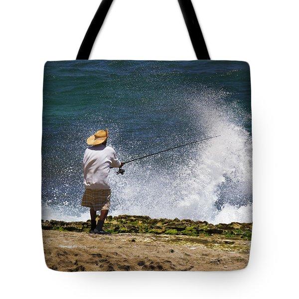 Man Versus The Sea Tote Bag by Mike  Dawson