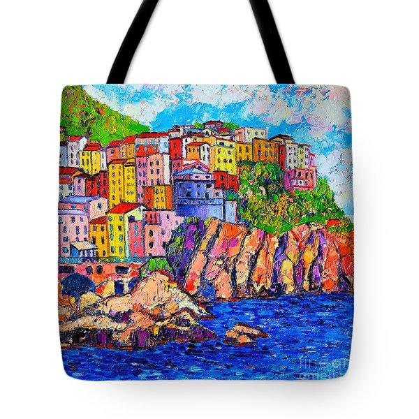 Manarola Cinque Terre Italy Detail Tote Bag by Ana Maria Edulescu