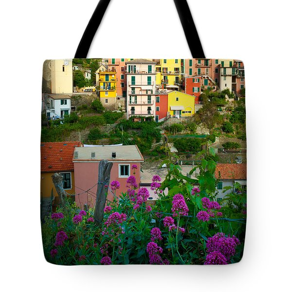 Manarola Flowers And Houses Tote Bag by Inge Johnsson