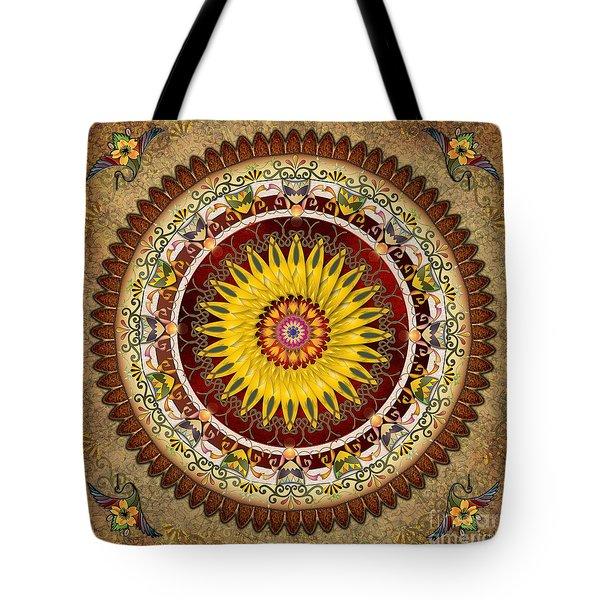 Mandala Sunflower Tote Bag by Bedros Awak