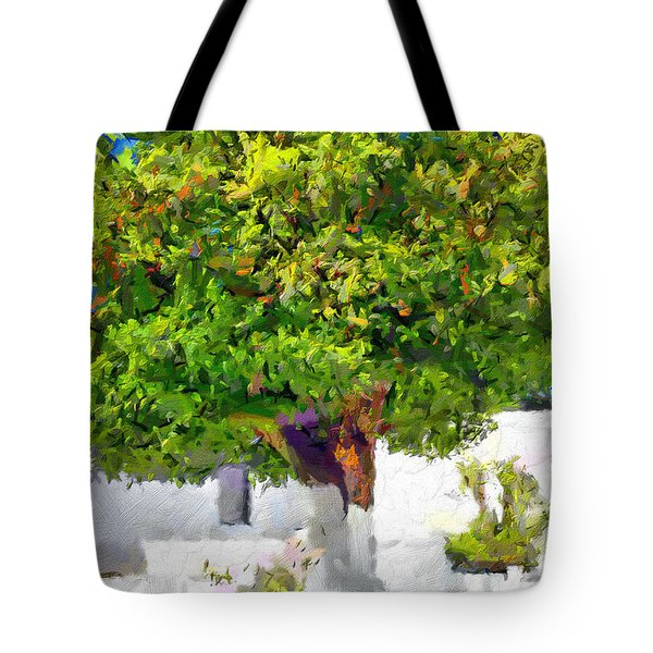 Mandarine Tree Painting Tote Bag by Magomed Magomedagaev