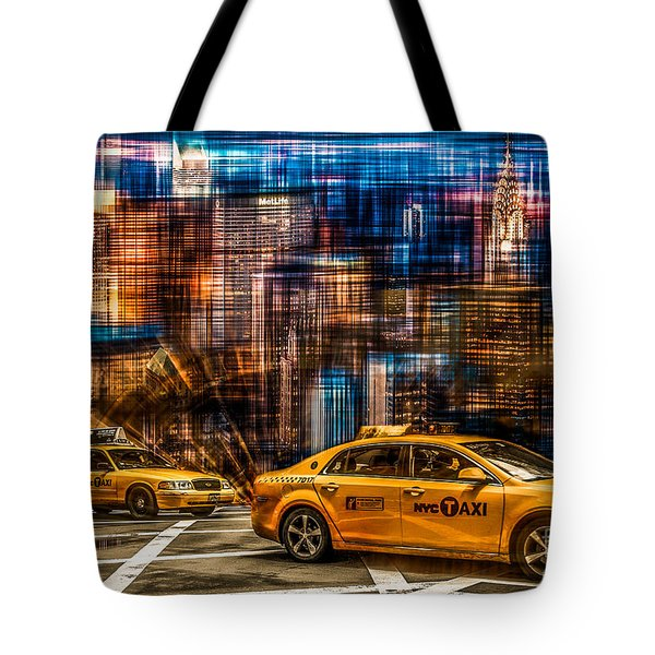 Manhattan - Yellow Cabs I Tote Bag by Hannes Cmarits