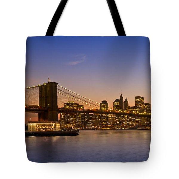 Manhattan Brooklyn Bridge Tote Bag by Melanie Viola