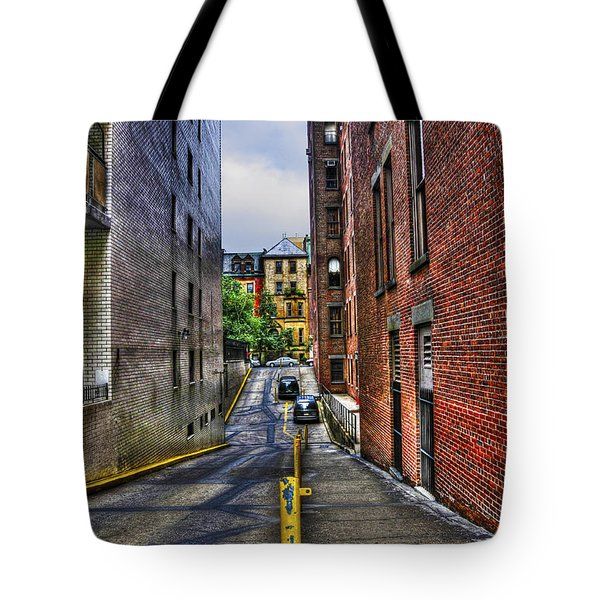 Manhattan Theater District Alley Tote Bag by Randy Aveille
