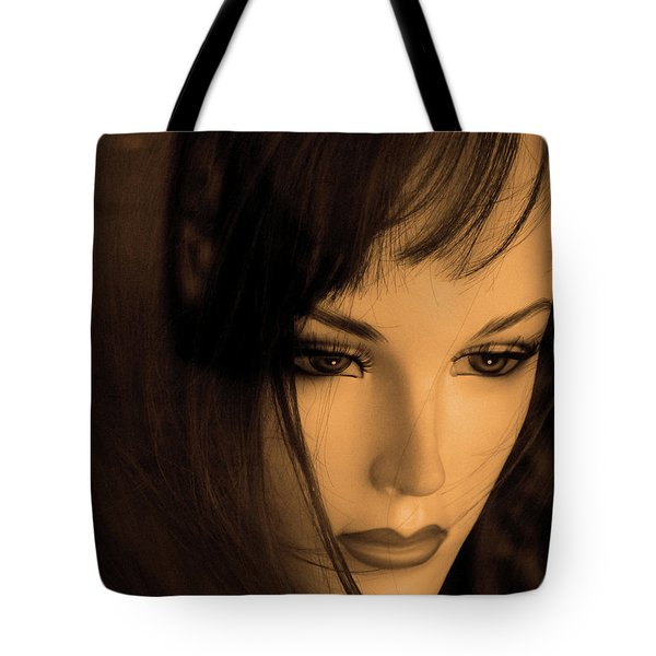 Mannequin Face Tote Bag by Angela Wright